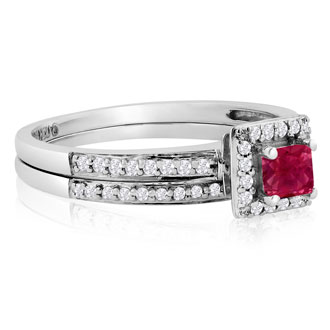 1/2ct Pave Ruby and Diamond Bridal Set