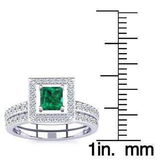 1ct Princess Cut Emerald and Diamond Bridal Set in 14k White Gold