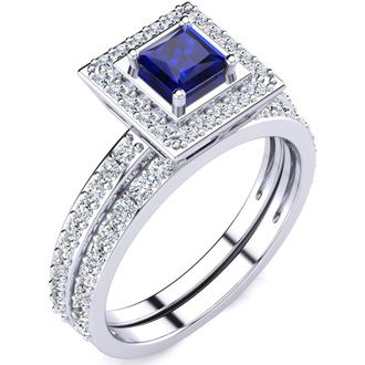 1ct Princess Cut Sapphire and Diamond Bridal Set in 14k White Gold