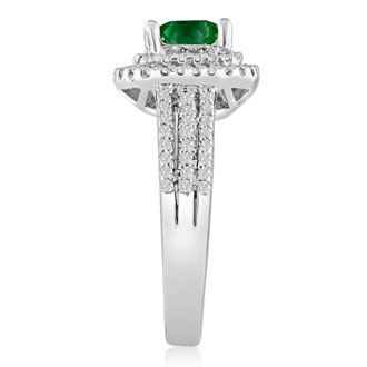 1 2/3ct Princess Cut Double Halo Emerald and Diamond Engagement Ring Crafted in 14 Karat White Gold