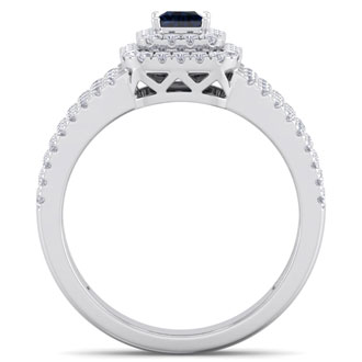 1 Carat Princess Shape Double Halo Sapphire and Diamond Engagement Ring In 14 Karat White Gold