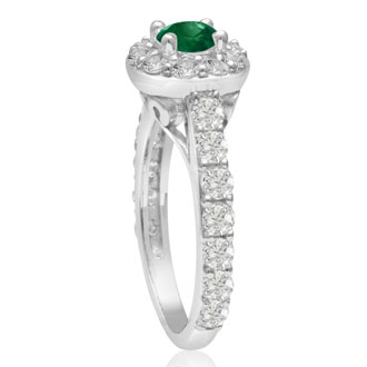 1 1/2 Carat Halo Diamond and Emerald Engagement Ring in 14 Karat White Gold