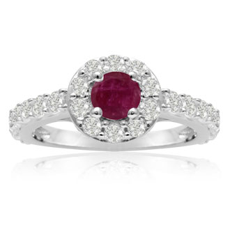 1.6ct Ruby and Diamond Halo Ring in 14k White Gold