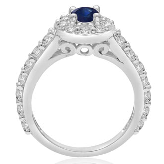 1 1/2 Carat Halo Diamond and Sapphire Engagement Ring in 14 Karat White Gold