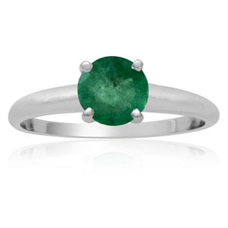 1 Carat Emerald Solitaire Engagement Ring In 14 Karat White Gold