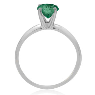 1ct Emerald Solitaire Engagement Ring Crafted In 14K White Gold.