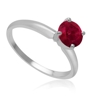1ct Ruby Solitaire Engagement Ring Crafted In 14K White Gold.