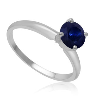 1ct Sapphire Solitaire Engagement Ring Crafted In 14K White Gold.