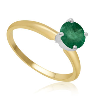 1ct Emerald Solitaire Engagement Ring Crafted In Solid 14 Karat Yellow Gold