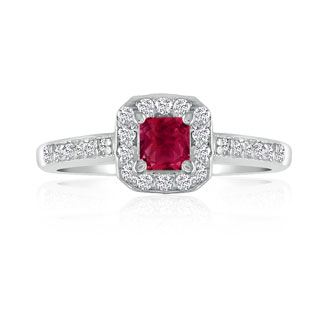 Hansa 2/3 Carat Ruby and Diamond Princess Engagement Ring in 14k White Gold