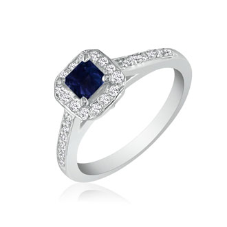 Hansa 2/3 Carat Sapphire and Diamond Princess Engagement Ring in 14k White Gold