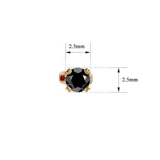 1/10ct Black Diamond Stud Earrings in Yellow Gold