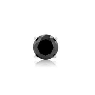 1ct Black Single Diamond Stud Earring in 10k White Gold