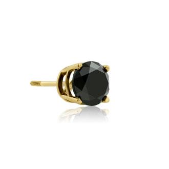 1ct Black Single Diamond Stud Earring in 10k Yellow Gold