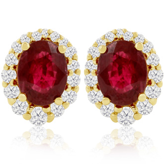 3.20 Carat Fine Quality Ruby And Diamond Earrings In 14K Yellow Gold