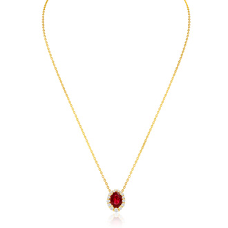 2.90 Carat Fine Quality Ruby And Diamond Necklace In 14K Yellow Gold
