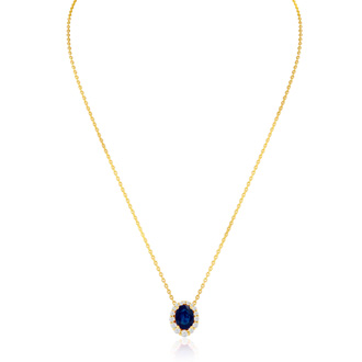 2.90 Carat Fine Quality Sapphire And Diamond Necklace In 14K Yellow Gold