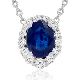 2.90 Carat Fine Quality Sapphire And Diamond Necklace In 14K White Gold