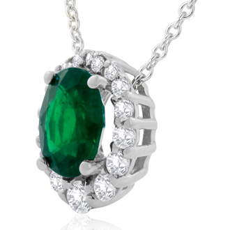 2.90 Carat Fine Quality Emerald And Diamond Necklace In 14K White Gold
