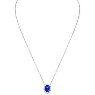 2.90 Carat Fine Quality Tanzanite And Diamond Necklace In 14K White Gold