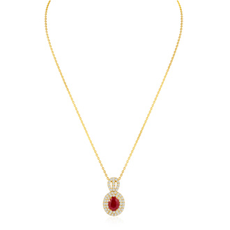 3.50 Carat Fine Quality Ruby And Diamond Necklace In 14K Yellow Gold