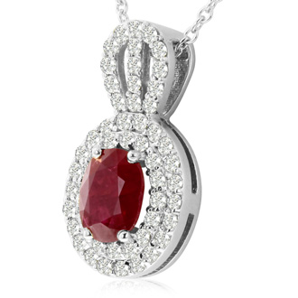3.50 Carat Fine Quality Ruby And Diamond Necklace In 14K White Gold