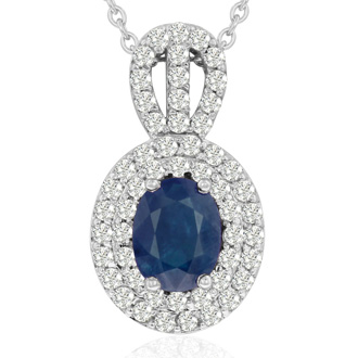 3.50 Carat Fine Quality Sapphire And Diamond Necklace In 14K White Gold