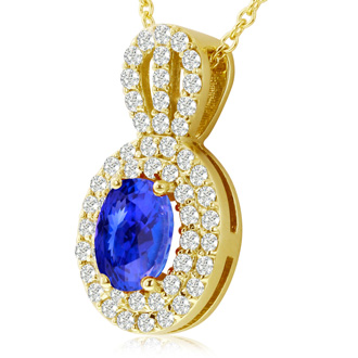 3.50 Carat Fine Quality Tanzanite And Diamond Necklace In 14K Yellow Gold