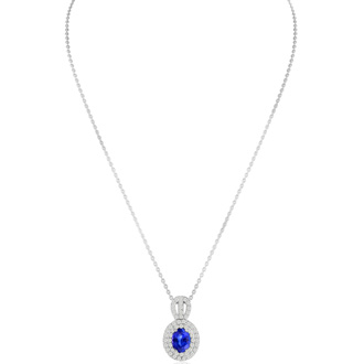 3.50 Carat Fine Quality Tanzanite And Diamond Necklace In 14K White Gold