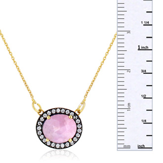 13 Carat Natural Pink Sapphire And CZ Necklace In 18 Karat Gold Over Silver