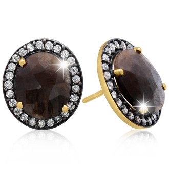 20 Carat Natural Bronze Sapphire And CZ Earrings In 18 Karat Gold Over Silver