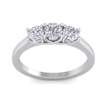 1 Carat Three Diamond Ring In Solid White Gold. Fiery Near Colorless Diamonds