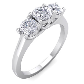 Our Lowest Priced 1ct Three Genuine Natural Diamond Ring in 14k White Gold. Don't Miss This Deal!
