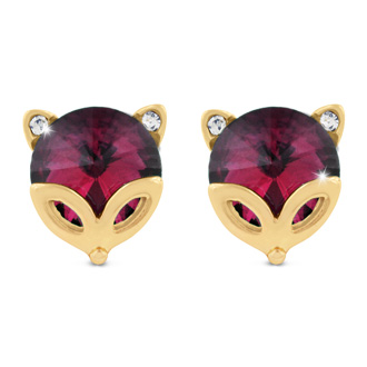 Pink Fox Swarovski Elements Stud Earrings, Pushbacks