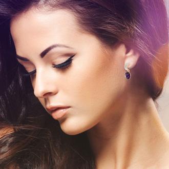 Purple Amethyst Swarovski Elements Dangle Earrings