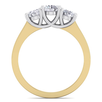 Our Lowest Priced 1ct Three Genuine Natural Diamond Ring in 14k Yellow Gold. Don't Miss This Deal!