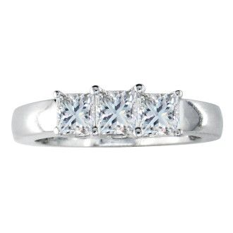 1ct Princess Cut Three Diamond Ring in 14k White Gold, G/H Color VS Clarity