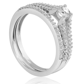 1/2 Carat Diamond Bridal Set In 14 Karat White Gold