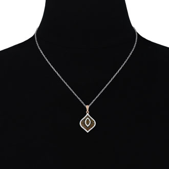 1/2ct Champagne and White Diamond Swirl Necklace In 14 Karat Rose Gold Plated 925 Silver