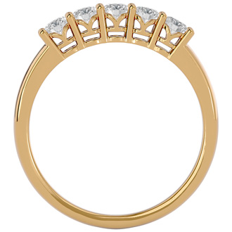 1/2ct Five Natural Diamond Band in Yellow Gold . A Totally Classic Wedding Ring At An Amazing Price!
