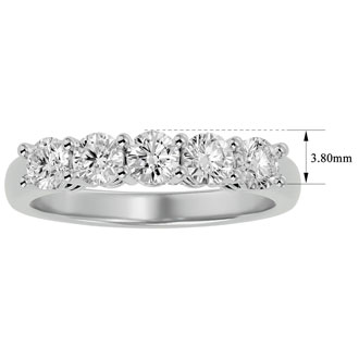 1ct Five Diamond Ring in White Gold.  Nice Heavy Gold Ring With Very Fiery Diamonds