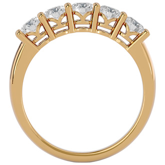 1ct Five Diamond Prong Set Band in Yellow Gold