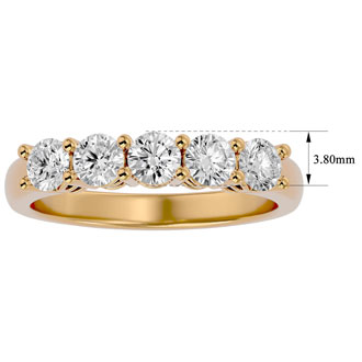 1ct Five Diamond Prong Set Band in Yellow Gold. Nice Heavy Gold Ring With Very Fiery Diamonds