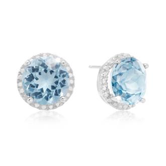 7 Carat Blue Topaz Halo Stud Earrings In Sterling Silver