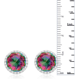 7 Carat Mystic Topaz Halo Earrings