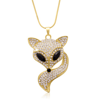 18K Gold Overlay Crystal Fox Necklace, 28 Inches