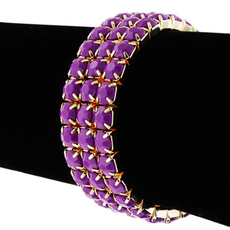 Set of Three Purple Amethyst Crystal Bracelets in Gold Overlay