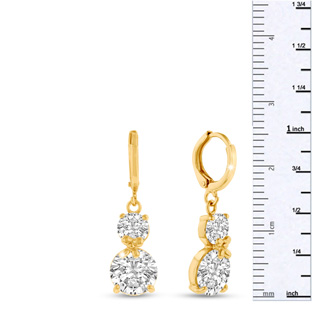 Elegant Swarovski Elements Crystal Hoop Earrings In Yellow Gold Overlay, 1 Inch