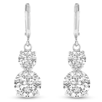 Elegant Swarovski Elements Crystal Drop Earrings in Silver, 1 Inch