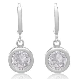 Swarovski Elements Crystal Bezel Set Drop Earrings In Silver, 1 Inch